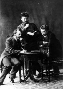 Студенты В. Вернадский, А. Краснов, Е. Ремезов после сдачи экзамена по химии Д.И. Менделееву, 1882 г.