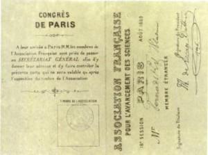 Карточка участника конгресса Французской ассоциации развития наук. Париж.1889 г.
